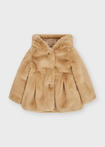 Mayoral jas 4436 fake fur coat hazelnut