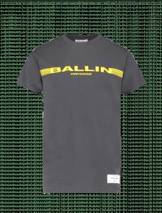 Ballin Tshirt 21037122 zwart met gele balk