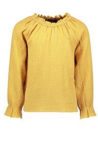 FLO blouse F108-5110  ruffle stof mosterd