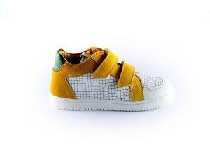 Ocra sneaker D077 Wit oker ruitmotief