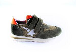 Clic sneaker CL-20334 Khaki velcro oranje