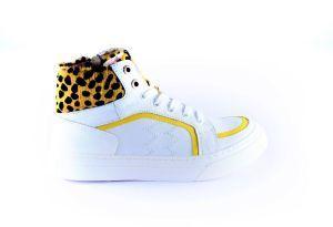 Red Rag Sneaker 12156 Wit leopard oker