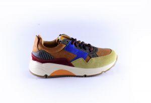 Ocra sneaker D370C Cognac Kobalt Roest