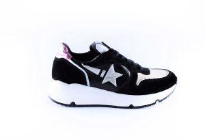 Clic sneaker CL-20337-Z  zwart ster zilver