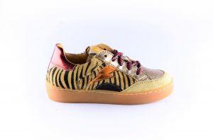 Ocra sneaker D402C beige zebra goud bliksem