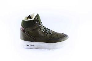 Hip sneaker H2535-65CO-BC groen fur rand